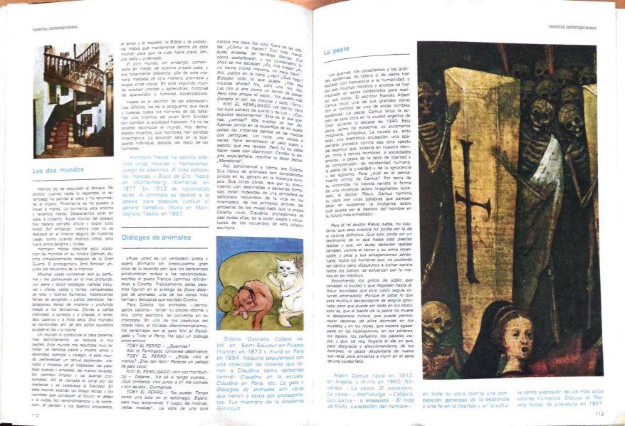 La página doble página con Hermann Hesse, Colette y Camus.