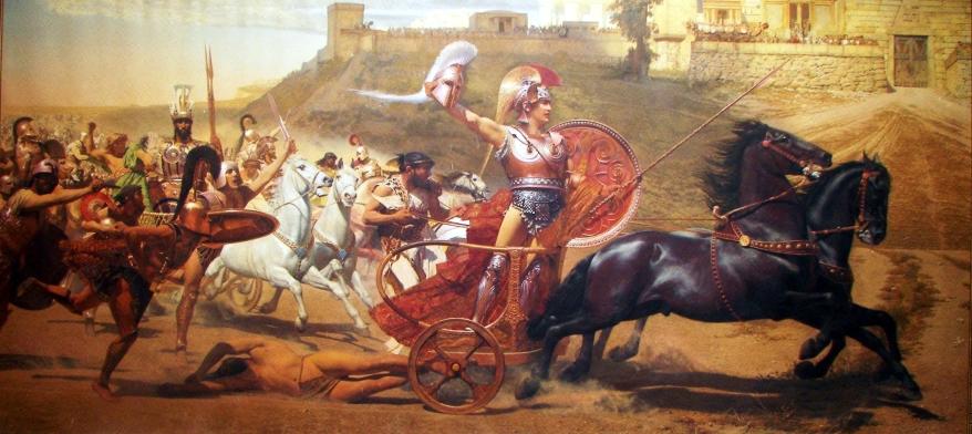 'Aquiles arrastra el cadáver de Héctor ante las puertas de Troya'. Fragmento de un fresco del Achilleion, el palacio que la emperatriz Sisí se construyó en Corfú.